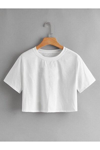 Kadın  Beyaz  Crop Tshirt