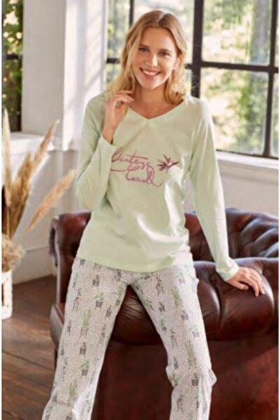 Kadın Kaktüs Cicek V Yaka Pijama Takımı Esk27530