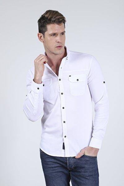 Erkek Beyaz Çift Cep Kapak Likralı Gabardin Gömlek