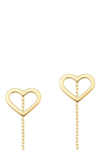 Gelin Diamond 14 Ayar Altın Kalp Sallantılı Küpe