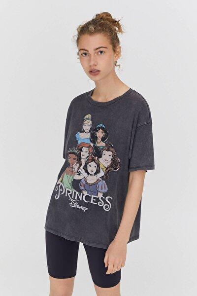 Siyah Disney Prensesleri Görselli T-shirt