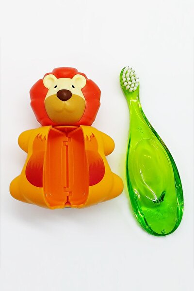Baby 0-3 Yaş Diş Fırçası Ve Flipper Hijyenik Saklama Kabı Seti - Aslan Figürlü