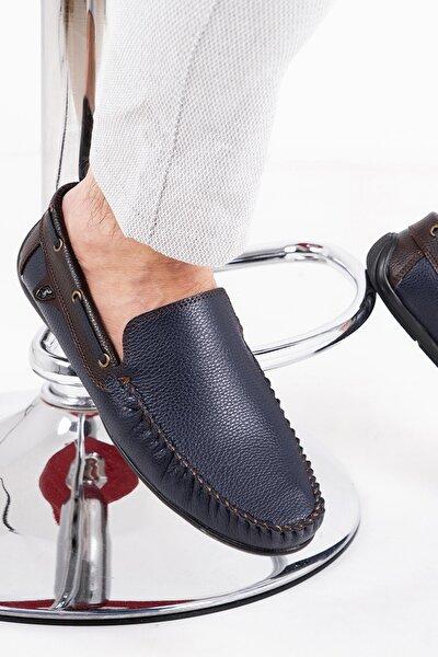 Erkek Lacivert Kahve  Rog Loafer Ayakkabı