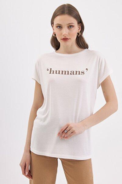 Kadın Ekru Humans Baskılı Kısa Kollu Tişört P21s194-1910