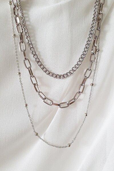 Kadın Gümüş Kaplama Üç Sıra Zincir Kombin Kolye