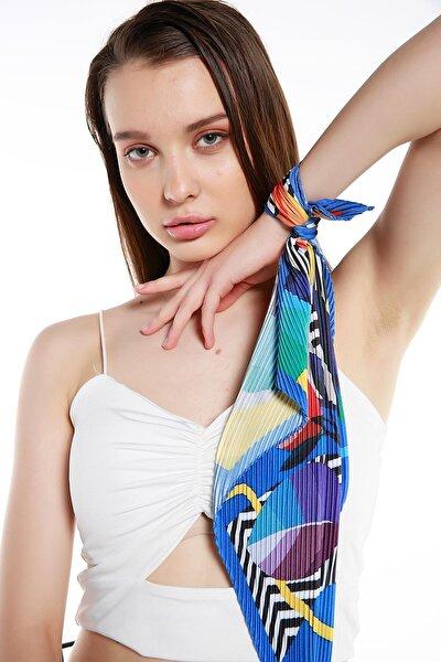 Kadın Desenli Çok Renkli Pliseli Fular 13741-1SAL-7648