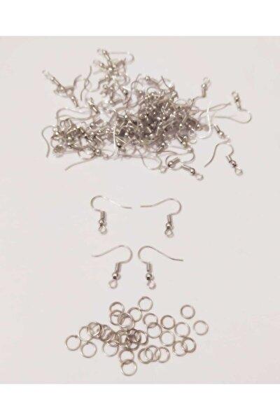 50 Çift 100'lü Gümüş Renk Küpe Kancası 6 Mm Takı Halkası Ile Birlikte Küpe Klipsi Malzemesi