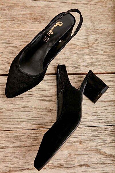 Siyah Süet Kadın Klasik Topuklu Ayakkabı K01503721072