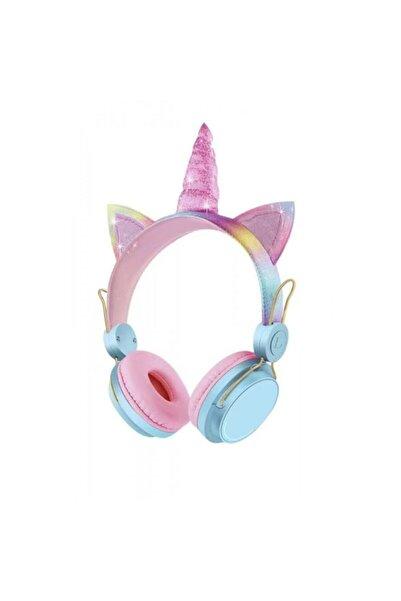 Unicorn 6800 Kablosuz Bluetooth 5.0 Unicorn Kedili Kulaklık Boynuzlu Çocuk Kulaklığı Lila