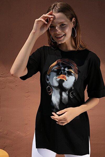 Kadın Baskılı Yırtmaçlı Tişört Y20s110-0362