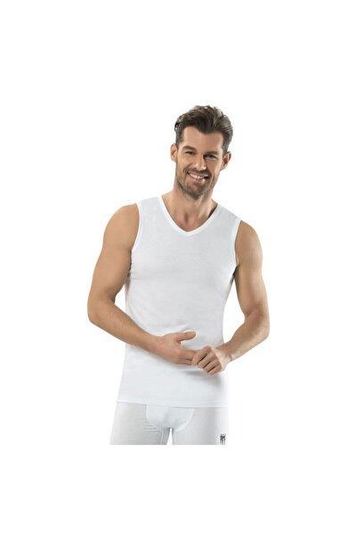 Erkek Beyaz V Yaka Sıfır Kol Atlet 6'lı Paket 123