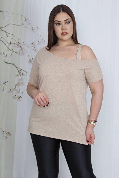 Kadın Vizon Tek Omuz Askılı Simli Bluz 65N23442