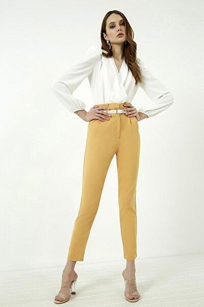 Kadın Hardal Yüksek Bel Pileli Kemerli Pantolon