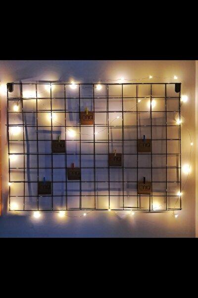 Işıklı Tel Pano - Metal Duvar Panosu - Fotoğraflık - Mandallı
