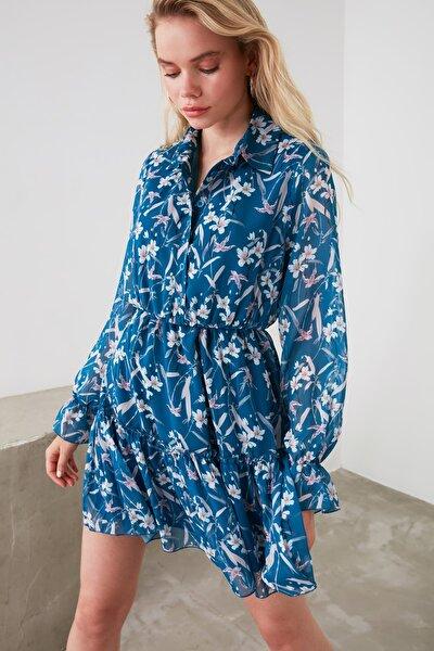 Lacivert Çiçek Desenli Gömlek Yaka Elbise TWOAW20EL0338
