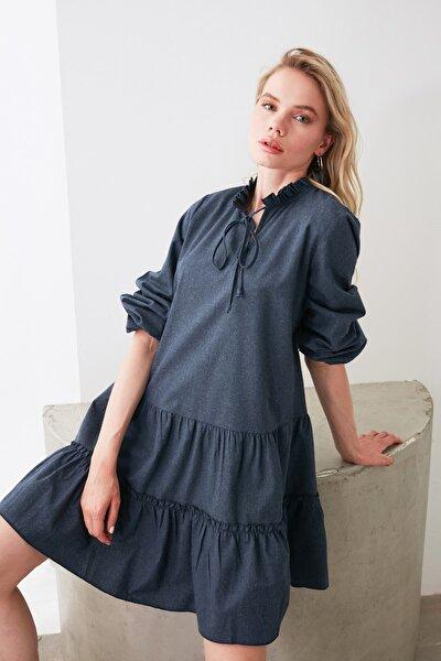 Lacivert Geniş Kesim Fırfırlı Elbise TWOAW20EL1506