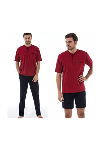 Erkek Bordo Damat Çeyizlik 3lü Penye Pijama Takımı