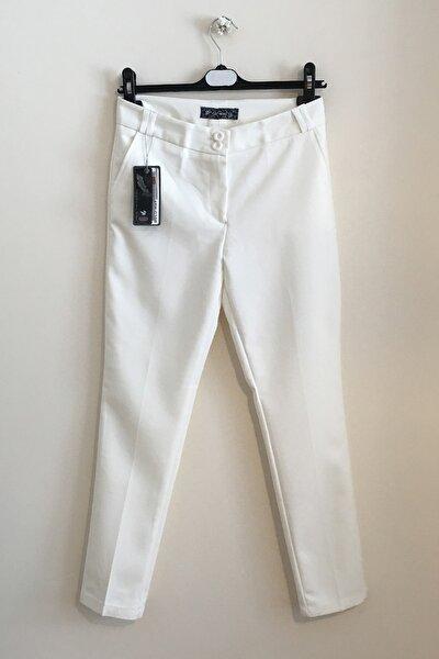 Kadın Beyaz Kumaş Pantolon