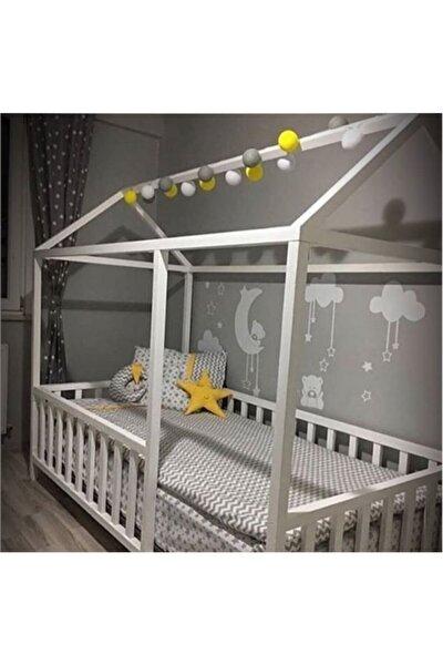 Çatılı Beyaz Montessori Bebek & Çocuk Karyolası