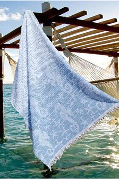 Havlu Peştemal, Plaj Havlusu, Banyo Havlusu, Mavi Denizatı Desen