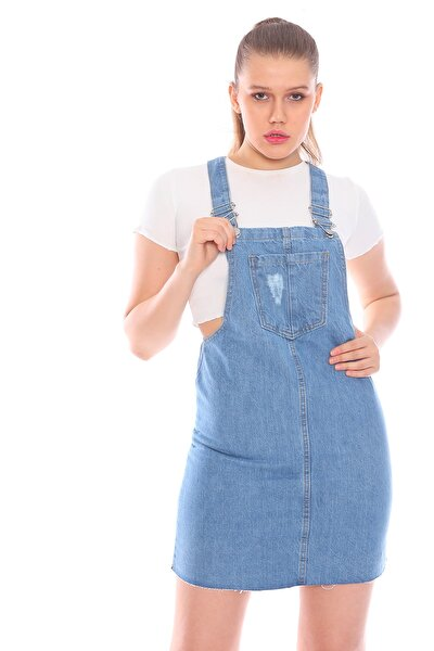 Kadın Mavi Salopet Elbise