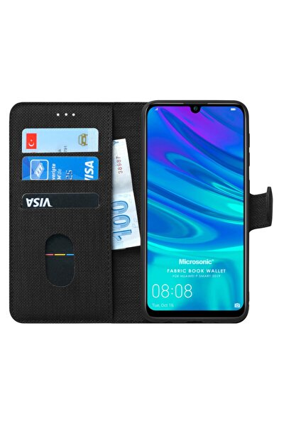 P Smart 2019 Kılıf, Microsonic Fabric Book Wallet