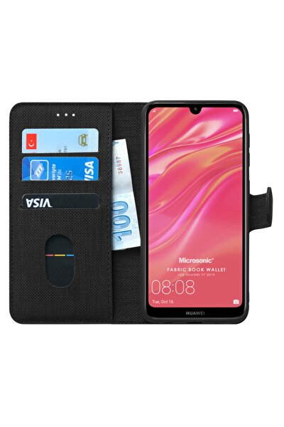 Y7 2019 Kılıf, Microsonic Fabric Book Wallet