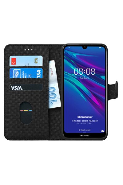 Y6 2019 Kılıf, Microsonic Fabric Book Wallet