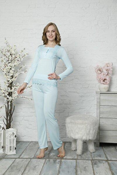 Kadın Mavi Güpürlü Uzun Kol Pijama Takımı