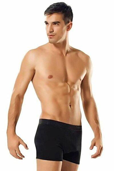 Erkek Siyah Likralı Elastan Boxer  - 3 Adet