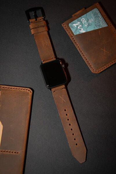 Minimal X Apple Watch Kordonu 42/44 Mm - Taba Crazy Gerçek Deri & El Yapımı