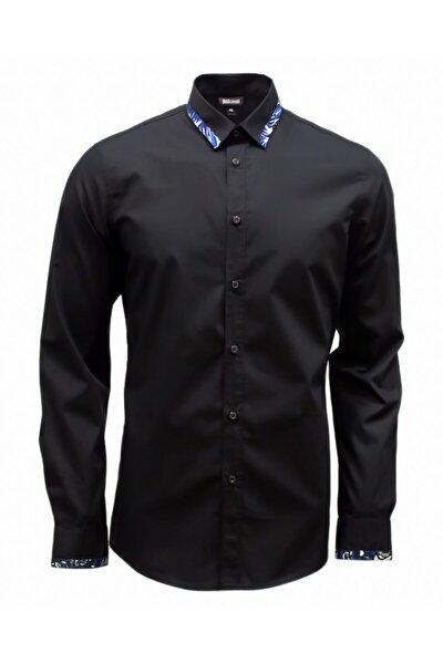 Erkek Siyah  Cavallı  Desenli Gömlek