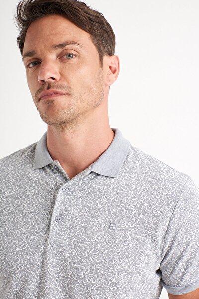Erkek Gri Polo Yaka Baskılı T-Shirt A01Y1131