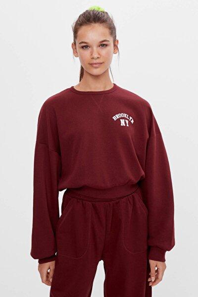 Kadın Kırmızı Baskılı Sweatshirt