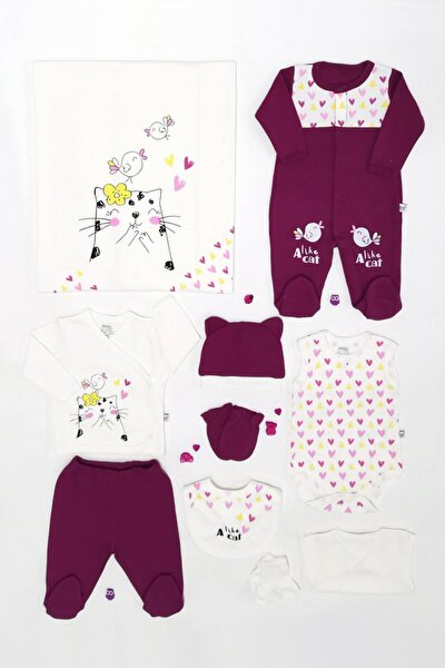 Kız Bebek Mürdüm Sevimli Kedi Tulumlu 10'lu Set 1-036