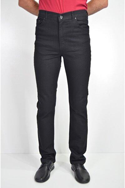 Erkek Siyah Klasik Yüksek Bel Likralı Fermuarlı Pamuklu Kot Pantolon