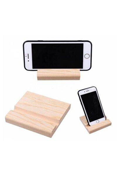 Ahşap Telefon Standı Masaüstü Ahşap Telefon Tablet Tutucu ( 1 Adet )