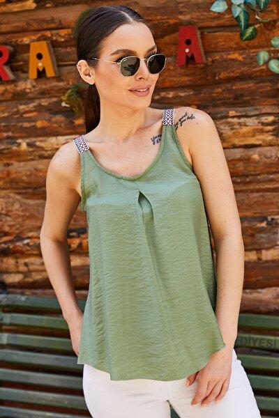 Kadın Yeşil Etnik Askılı Bluz Arm-20Y001041