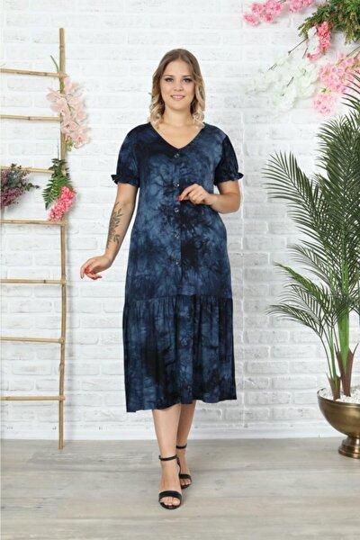 Lacivert V Yaka Karpuzkol Batik Elbise