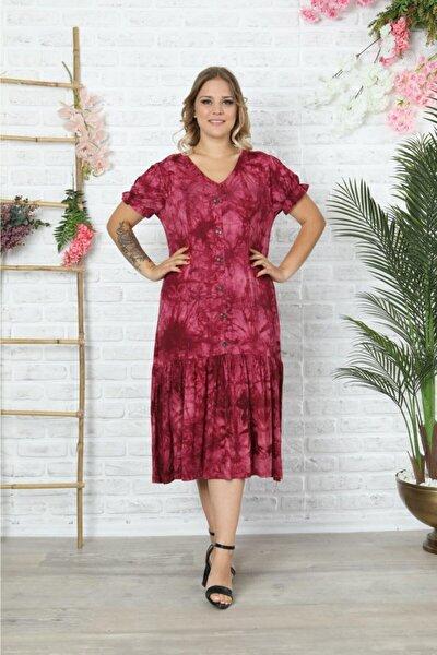 Bordo V Yaka Karpuzkol Batik Elbise