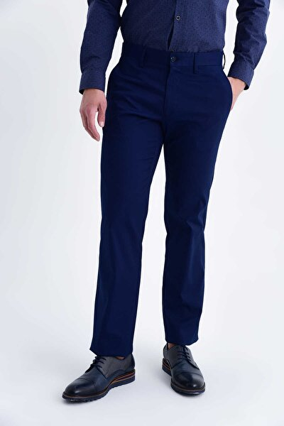 Erkek Lacivert Desenli Regular Pantolon