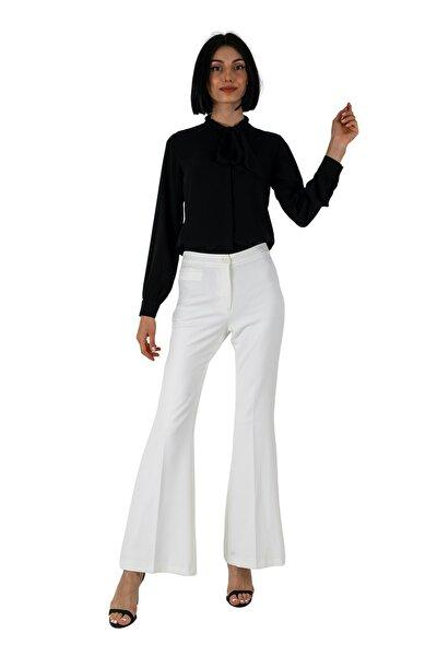 Beyaz Yüksek Bel Likralı Içi Astarlı Ispanyol Paça Pantolon