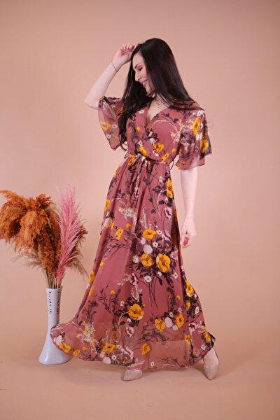 Kruvaze Uzun Şifon Elbise Desen 6