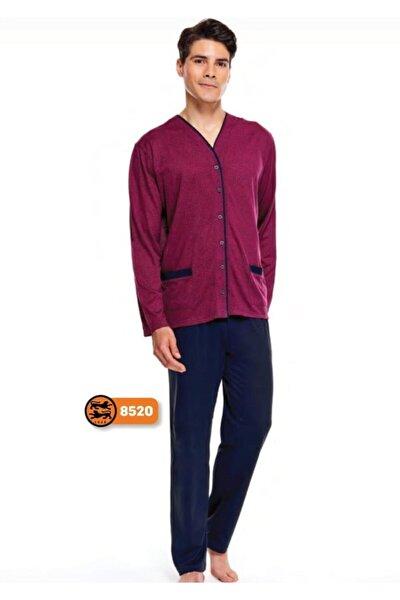 %100 Pamuk Jakarlı Önden Düğmeli Erkek Pijama Takımı 8520