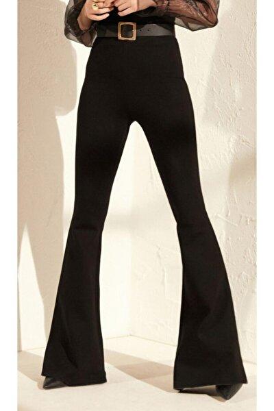 Kadın Siyah Yüksek Bel İspanyol Paça Tayt Pantolon
