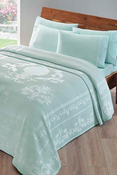 Jakarlı Comfort Çift Kişilik Pike Takımı - Helena Su Yeşili