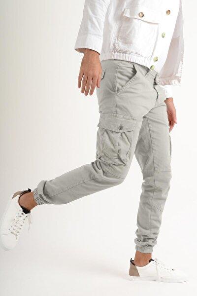 Kargo Paçası Lastikli Taş Rengi Erkek Pantolon