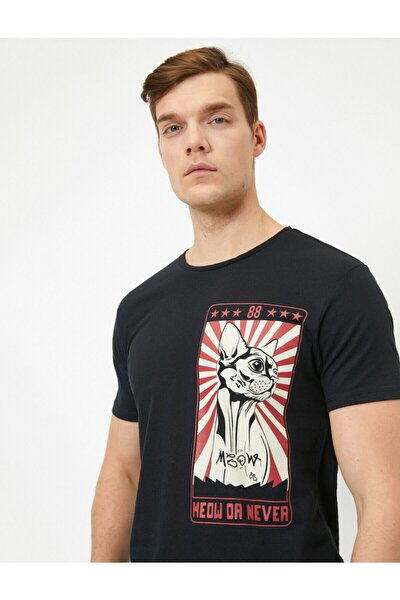 Erkek Siyah Bisiklet Yaka Pamuklu Kısa Kollu T-shirt