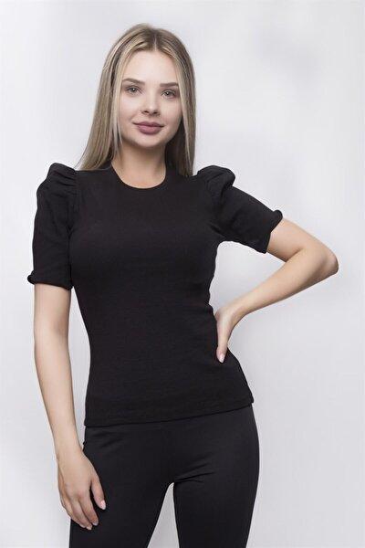 Kadın Siyah Karpuz Kol Fitilli Bluz