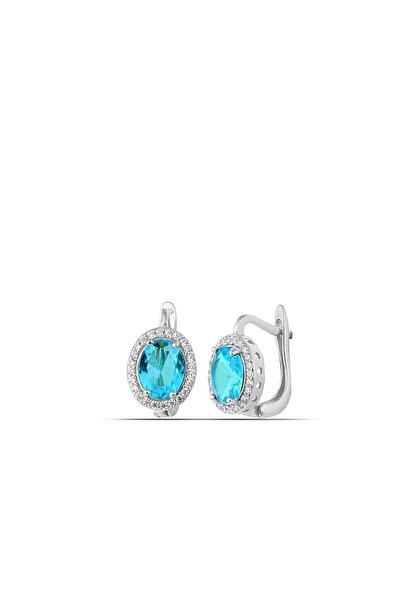 Aquamarine Rengi Taşlı Gümüş Küpe